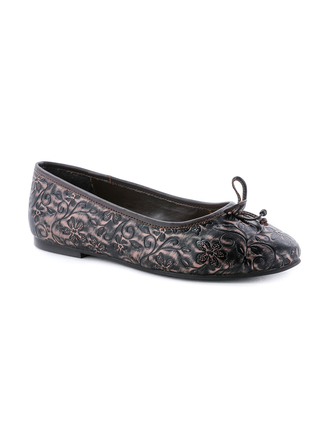 Womens Flower Engraving Brown Ballerinas - London Rag India