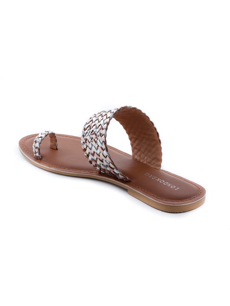 Womens Gold Silver Metallic Weaved One Toe Sandal - London Rag India