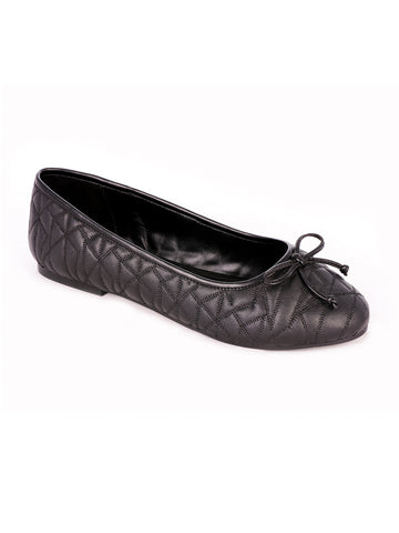 Womens Stitched Textured Black Ballerinas - London Rag India