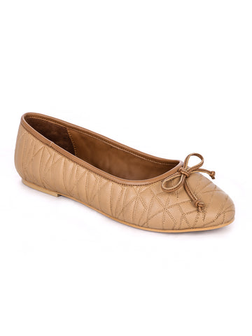 Womens Stitched Textured Tan Ballerinas - London Rag India
