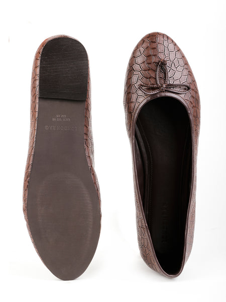 Womens Crock Textured Brown Ballerinas - London Rag India