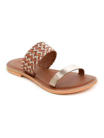 Bronze Gold Metallic Weaved Strap Sandal - London Rag India