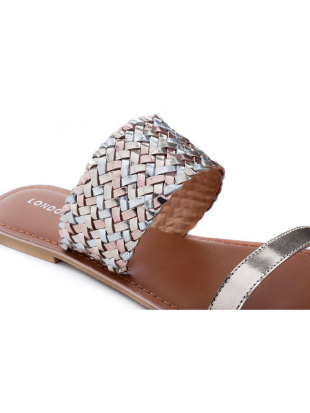 Womens Gold Silver Metallic Weaved Strap Sandal - London Rag India