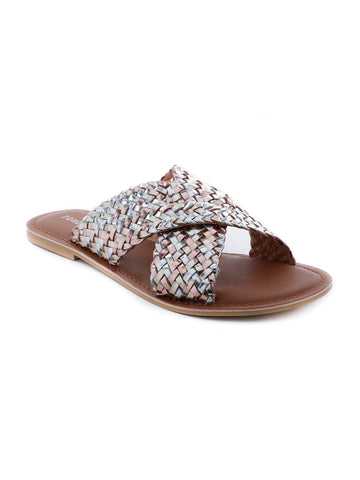 Womens Gold Silver Metallic Weaved Cross Strap Sandal - London Rag India