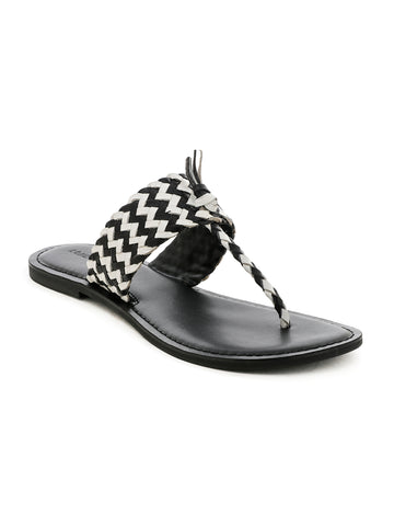 Black White Weaved Thong Sandal - London Rag India