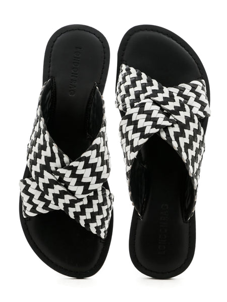 Black White Weaved Cross Strap Sandal - London Rag India