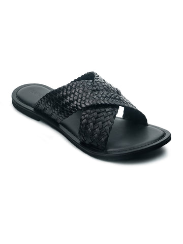 Black Weaved Cross Strap Sandal - London Rag India