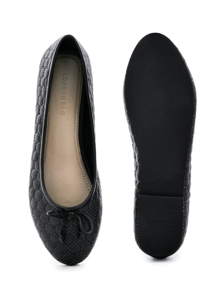 Womens Football Stitched Black Ballerinas - London Rag India