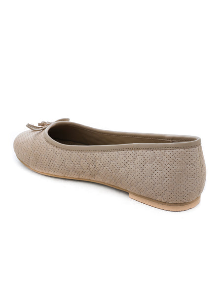 Womens Football Stitched Beige Ballerinas - London Rag India
