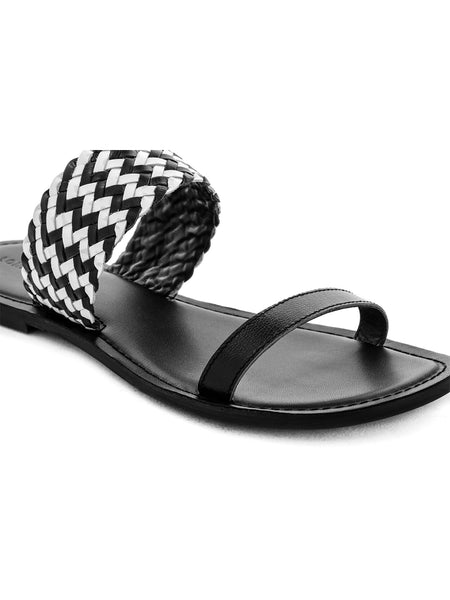 Womens Black White Weaved Strap Sandal - London Rag India