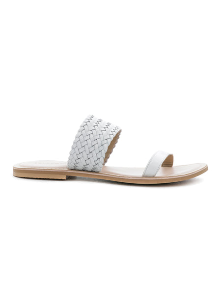 Womens White Weaved Strap Sandal - London Rag India