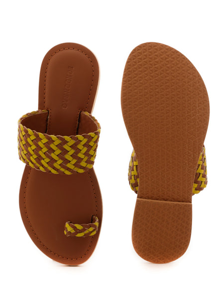 Mustard Weaved One Toe Sandal - London Rag India