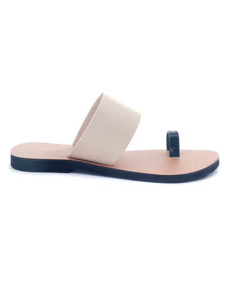 Beige Toe Ring Flat Sandals - London Rag India