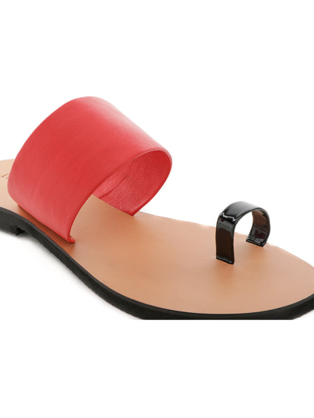 Red Toe Ring Flat Sandals - London Rag India