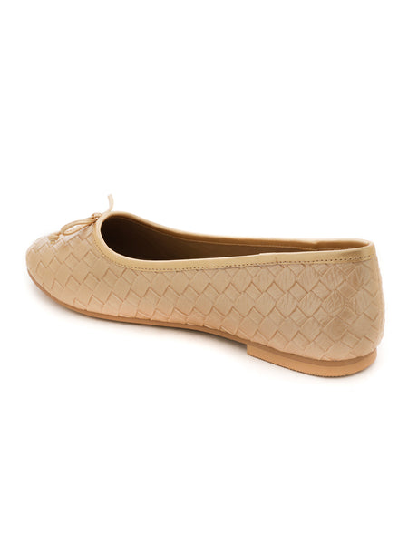 Weave Embossed Gold Ballerinas with Bow - London Rag India