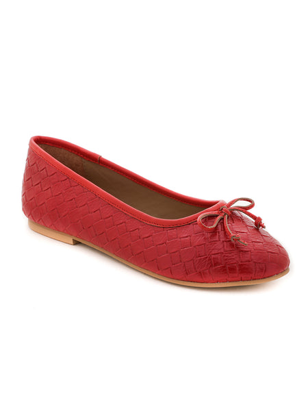 Weave Embossed Red Ballerinas with Bow - London Rag India