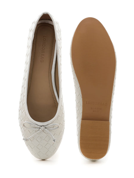 Weave Embossed Silver Ballerinas with Bow - London Rag India