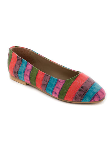 Multicolor textured ballerinas - London Rag India