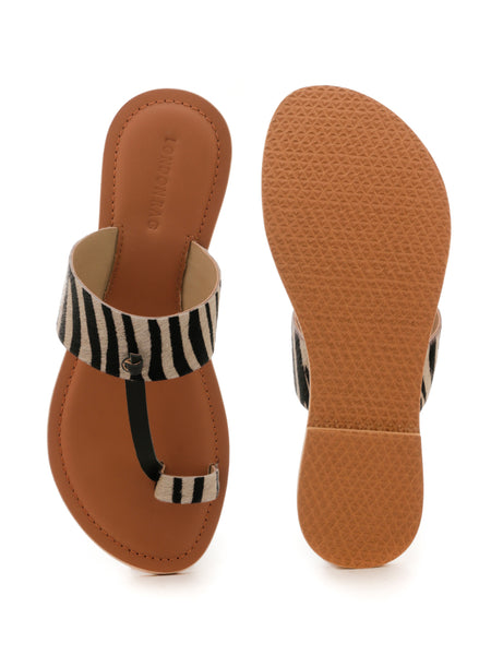 Toe Ring Zebra Print Sandal - London Rag India