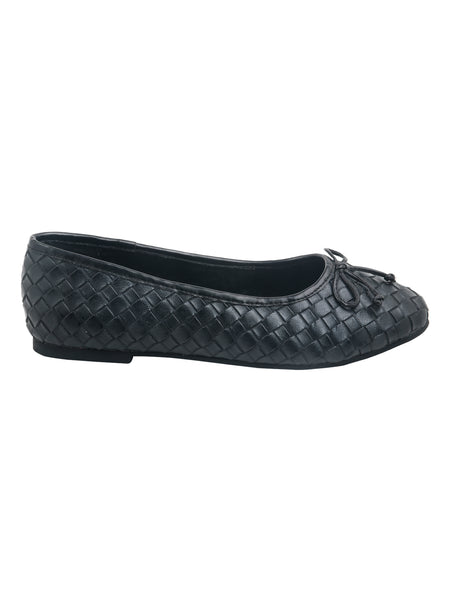 Weave Embossed Black Ballerinas with Bow - London Rag India