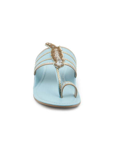 Blue Kolhapuri Sandals in Golden Stripes - London Rag India