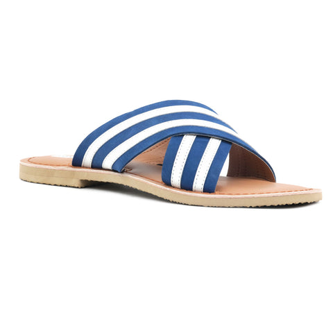 Blue & White Striped Slip-on Flat Sandal - London Rag India
