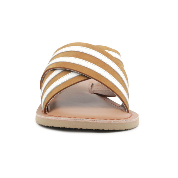Tan & White Striped Slip-on Flat Sandal - London Rag India