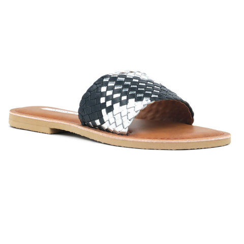 Black & Silver Woven Strap Slip-On - London Rag India