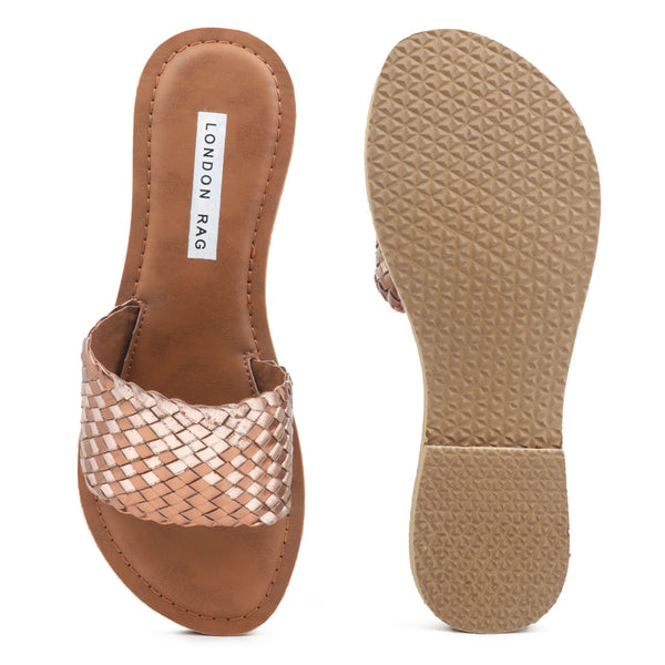 Metallic Bronze Woven Strap Slip-On - London Rag India