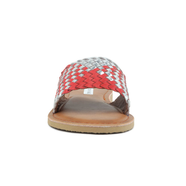 Red & Silver Woven Strap Slip-On - London Rag India