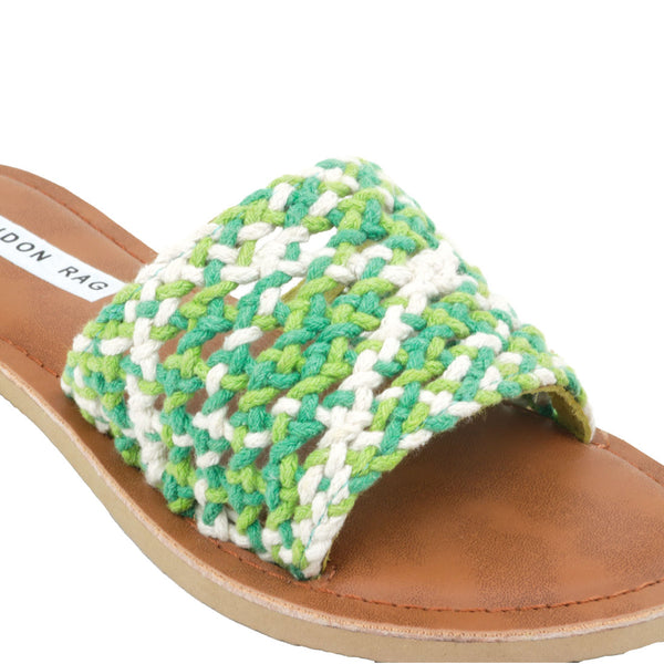Green & White Woven Cotton Strap Slip-On