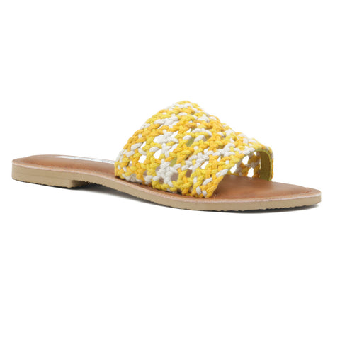 Yellow & White Woven Cotton Strap Slip-On