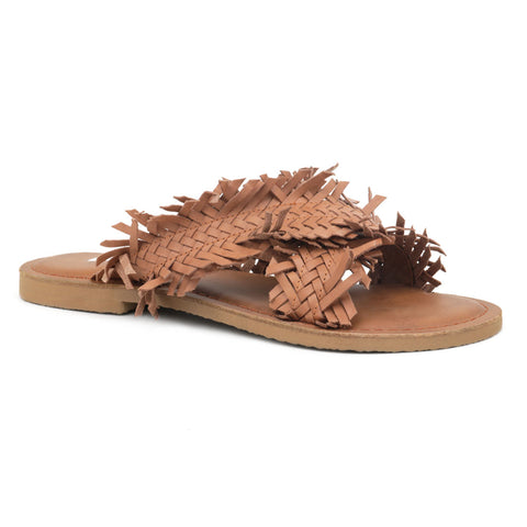 Origami Style Tan Cross Strap Flat Sandals