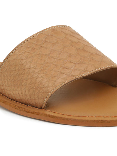 Tan Croc Textured Slip-On Sandal