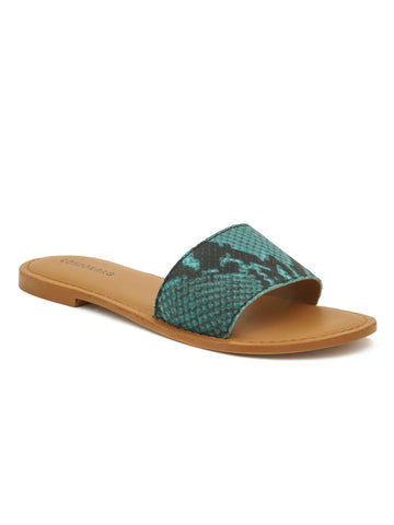 Blue Snake Skin Textured Slip-On Sandal