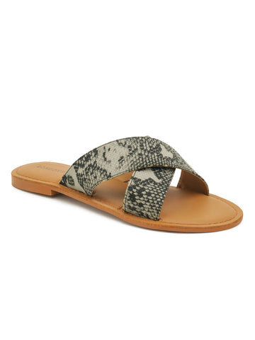 Grey Snake Skin Textured Slip-On Sandal
