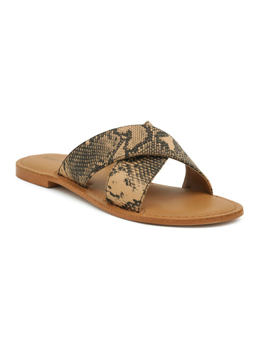 Tan Snake Skin Textured Slip-On Sandal