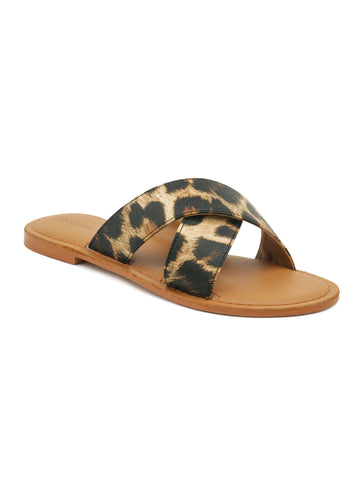 Tan Leopard Print Slip-On Sandal