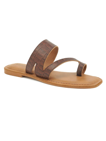 Brown Croc Print One Toe Flat Sandal
