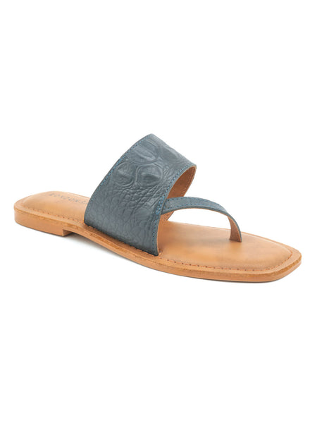 Grey Croc Print One Toe Flat Sandal