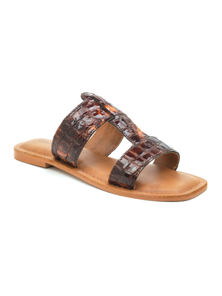 Bronze Croc Print Slip On Sandal