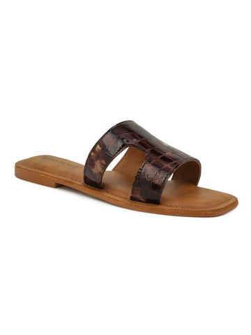Bronze Croc Print Slip-On Sandal