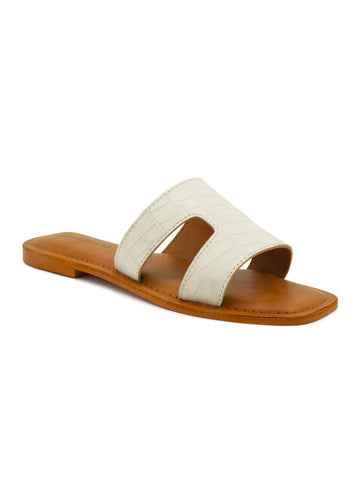 White Croc Print Slip-On Sandal