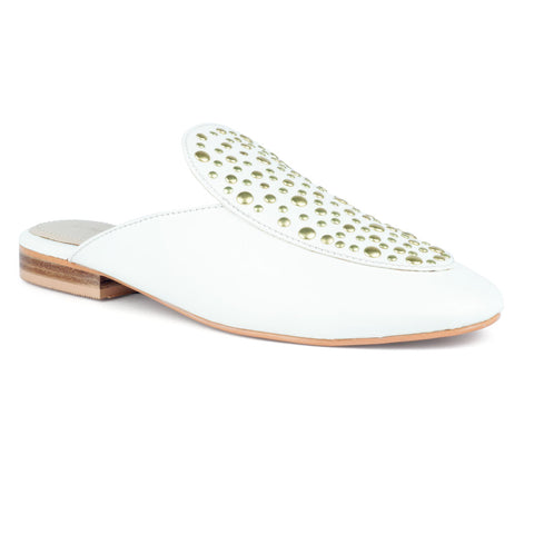 White Slip-On Studded Mule
