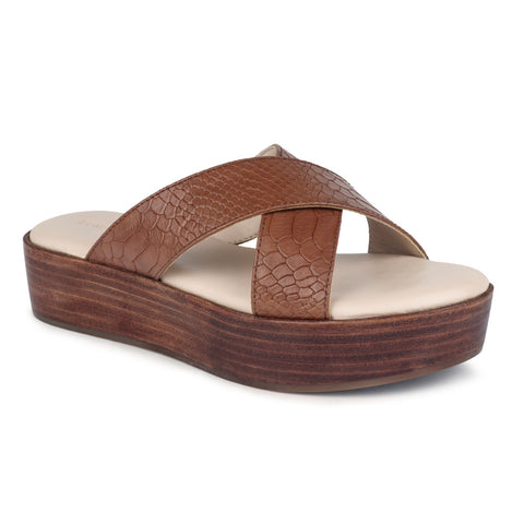 Tan Cross Strap Platform Sandal