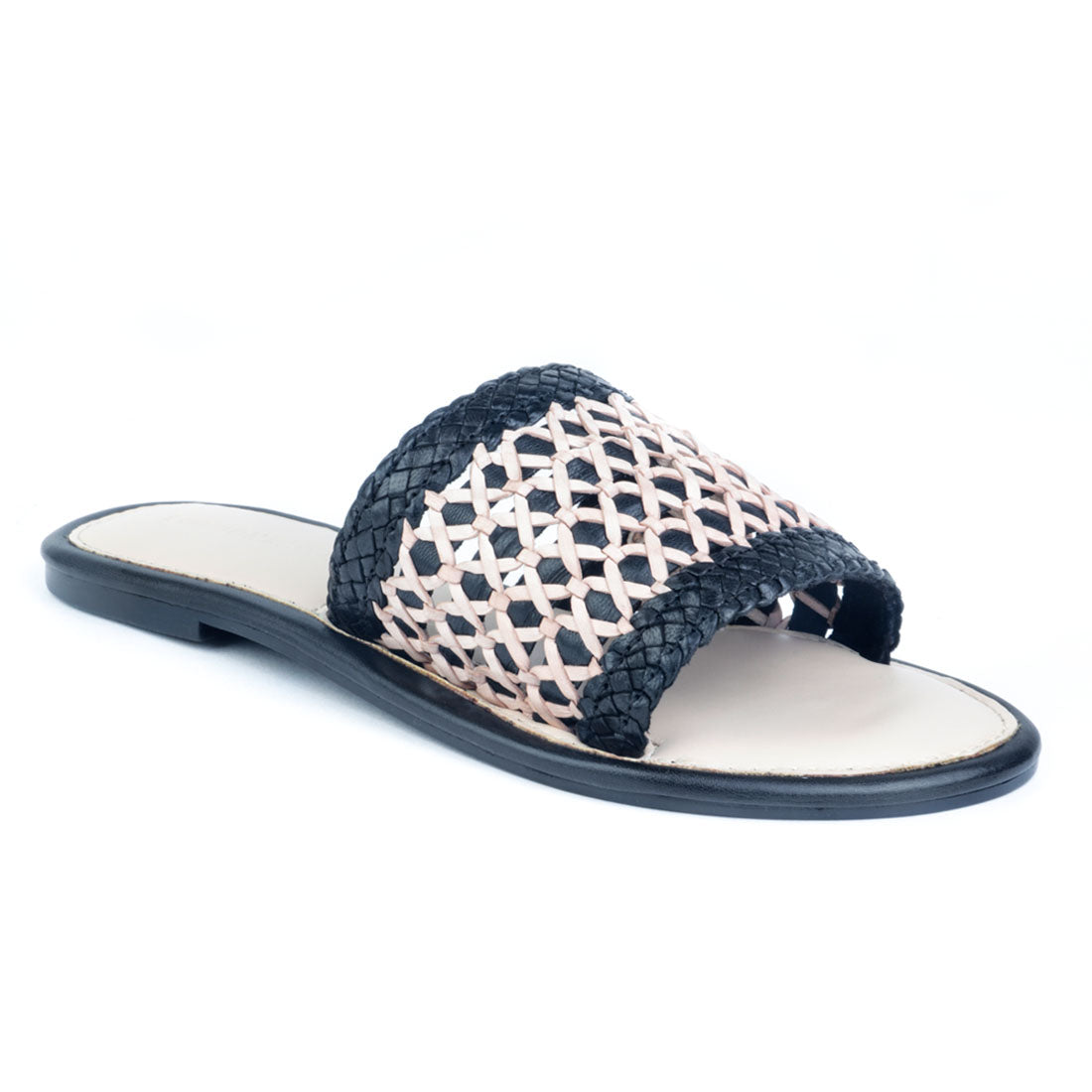 Nude and Black Woven Slip-On Flat