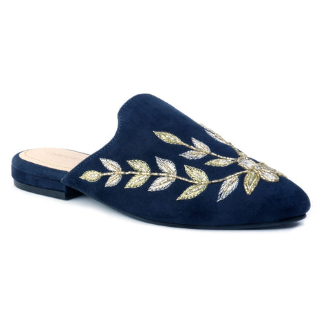 Navy Leaf Embroidered Suede Mules