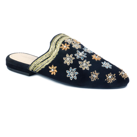 Black Butta Embroidered Velvet Mules