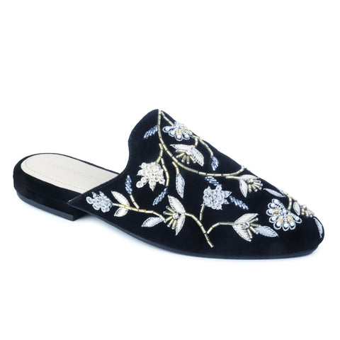 Black Embroidered Floral Velvet Mules