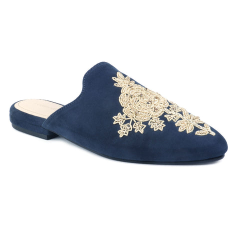 Navy Embroidered Patch Suede Mules
